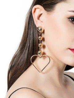 Alloy Heart Beads Earrings - Golden