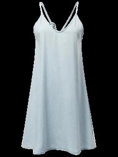 Robe En Denim à Bretelles  - Bleu Clair S