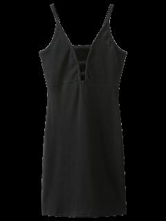 Plunging Neck Bodycon Mini Dress - Black S