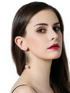 Faux Pearl Circle Star Asymmetrical Earrings - Golden