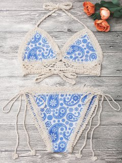 Crochet Panel Printed String Bikini - Blue