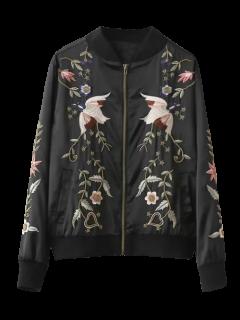 Beaded Embroidered Bomber Jacket - Black M