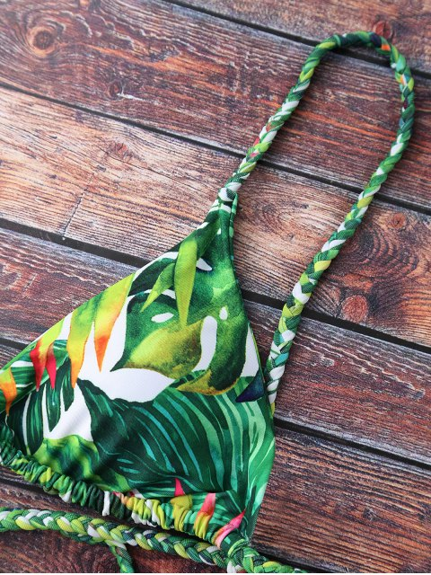 shops Tropical Print Plunge Bikini - GREEN XL Mobile