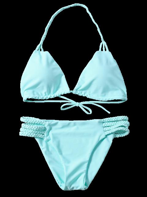 ladies Side Strap Braided Plunge Bikini - TURQUOISE M Mobile