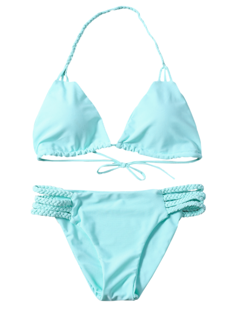 lady Side Strap Braided Plunge Bikini - TURQUOISE S Mobile