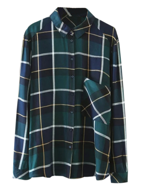 shop Pocket Checked Shirt - GREEN S Mobile