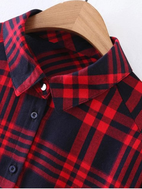 hot Pocket Checked Shirt - RED S Mobile