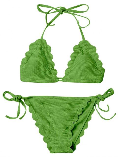 shops Scalloped Tie Side String Bikini Swimwear - GRASS GREEN S Mobile