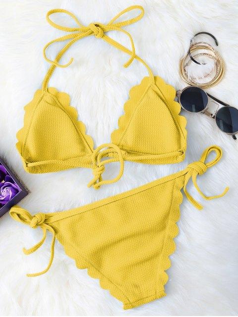unique Scalloped Tie Side String Bikini Swimwear - YELLOW S Mobile