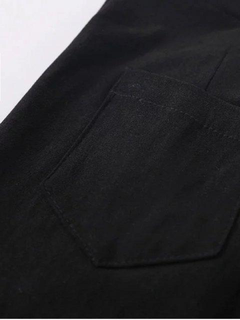 affordable Skinny High Waist Pants - BLACK L Mobile