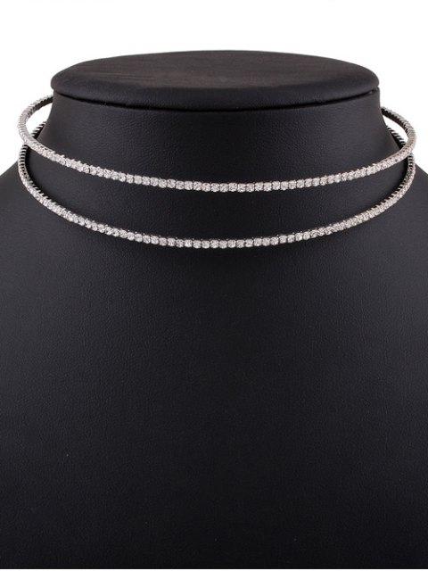 lady Twins Circle Rhinestone Choker Necklace - SILVER  Mobile