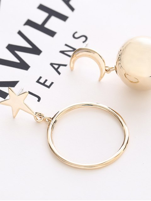 new Asymmetrical Moon Star Ball Earrings - GOLDEN  Mobile