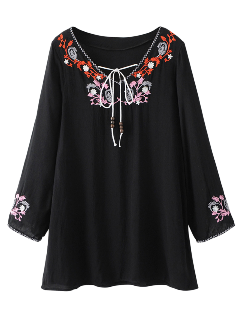 womens Long Sleeve Embroidered Mini Dress - BLACK XL Mobile