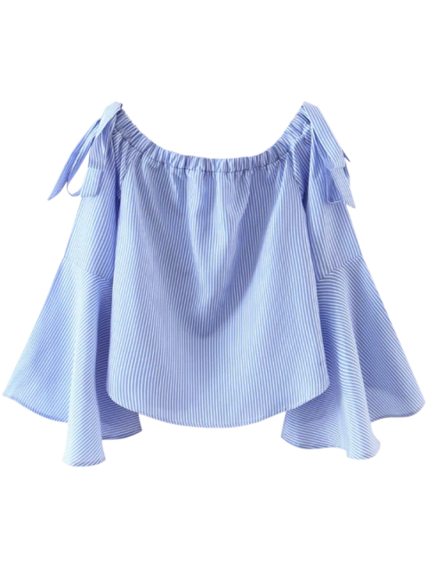 ladies Bell Sleeve Off The Shoulder Top - BLUE AND WHITE S Mobile