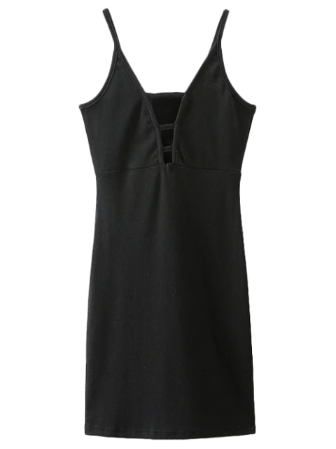 affordable Plunging Neck Bodycon Mini Dress - BLACK M Mobile