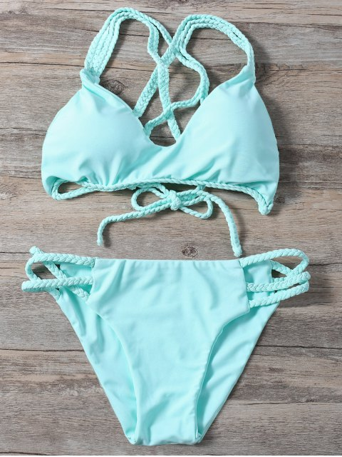 shop Braided Crisscross Strap Bathing Suit - LIGHT GREEN S Mobile