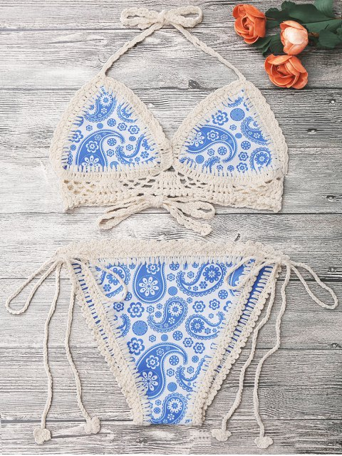outfits Crochet Panel Printed String Bikini - BLUE ONE SIZE Mobile