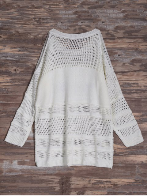 best Cold Shoulder Hollow Out Tassel Jumper - OFF-WHITE ONE SIZE Mobile