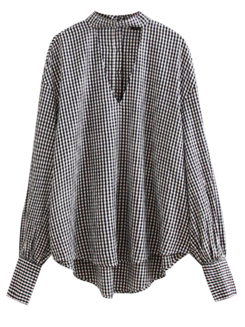 lady Checked Choker Top - BLUE AND WHITE S Mobile