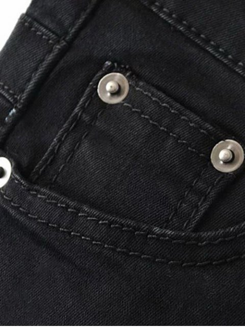 new Stretchy Zip Fly Jeans - BLACK M Mobile