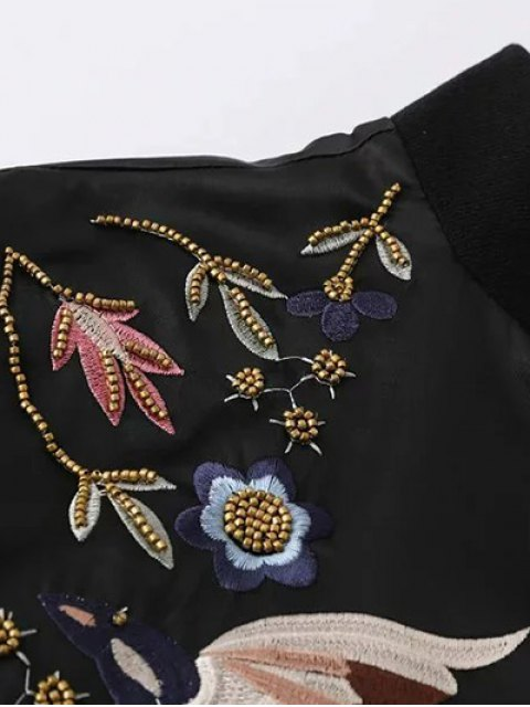 trendy Beaded Embroidered Bomber Jacket - BLACK XL Mobile