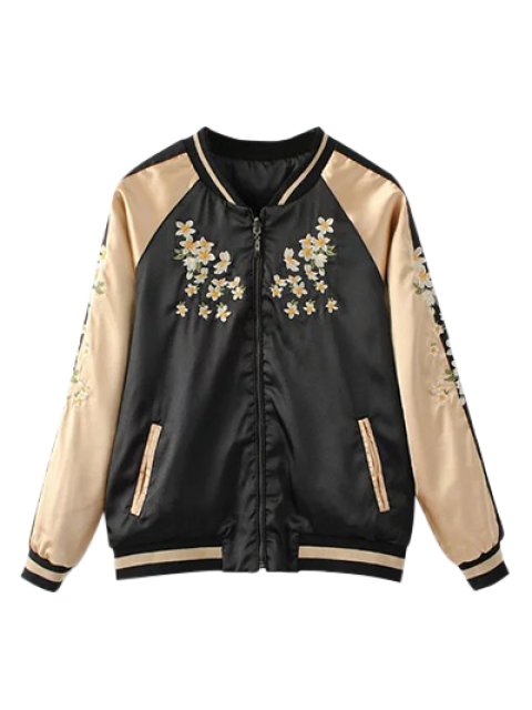 unique Reversible Embroidered Bomber Jacket - BLACK 2XL Mobile