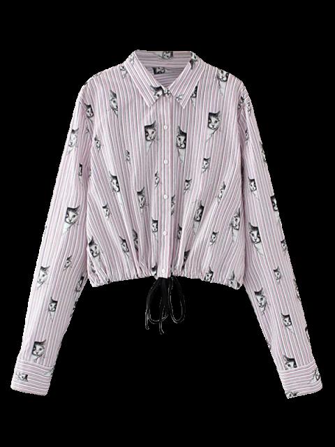Chemise coupée à motif de chat - ROSE PÂLE L Mobile