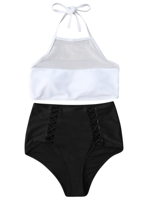 latest Halter Sheer High Waist Bikini Swimsuit - WHITE AND BLACK M Mobile