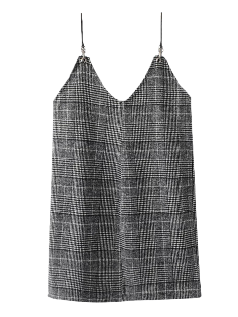 shop Checked Tweed Cami Dress - WHITE AND BLACK S Mobile