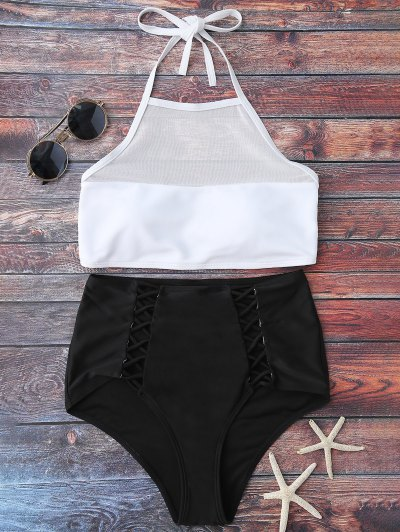 Halter Sheer High Waist Bikini Swimsuit - White And Black