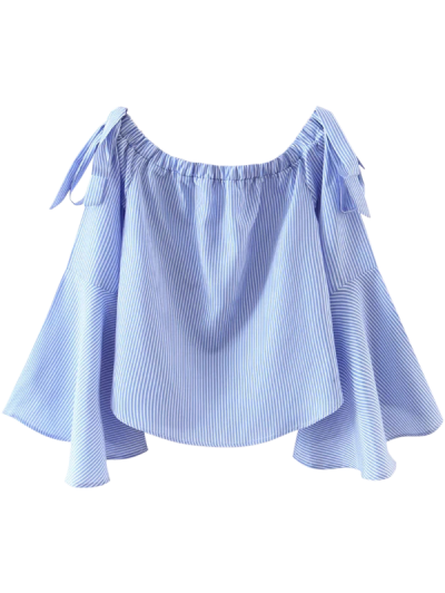 Bell Sleeve Off The Shoulder Top - Blue And White