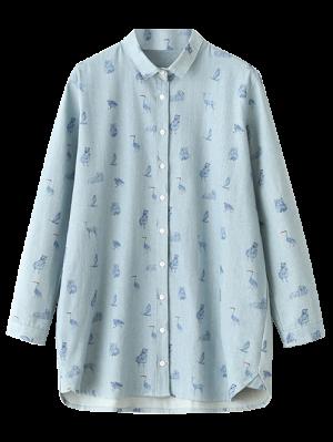 Cartoon Animal Print Denim Shirt - Light Blue