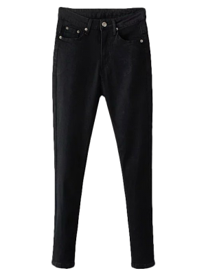 Stretchy Zip Fly Jeans - Black