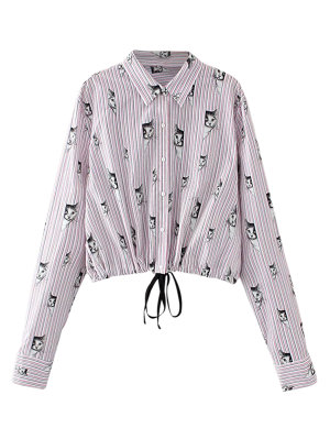 Cat Print Cropped Shirt - Pink