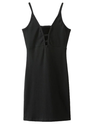 Plunging Neck Bodycon Mini Dress - Black