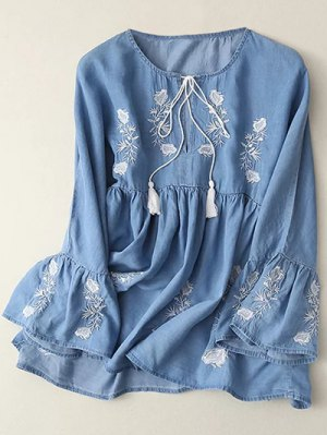 Bell Sleeve Embroidered Babydoll Top - Light Blue