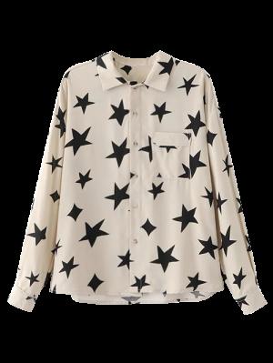 Pentagram Print Pocket Shirt - White
