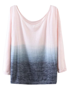 Ombre Boat Neck T-Shirt - Pink S