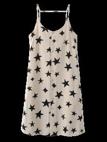 Button Up Star Print Slip Dress - Off-white