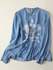 Round Neck Embroidered Blouse