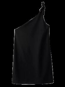 Atada De Un Hombro Mini Vestido - Negro L