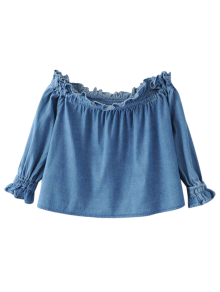 Ruffles Off Shoulder Denim Blouse - Blue L
