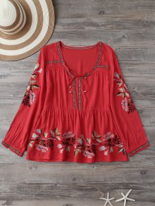Embroidered Plunging Neck Blouse - Red L