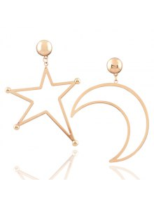 Alloy Moon Star Earrings - Golden