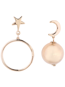 Asymmetrical Moon Star Ball Earrings - Golden
