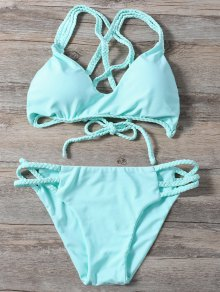 Braided Crisscross Strap Bathing Suit - Light Green
