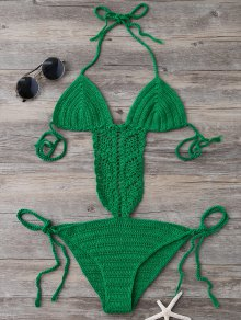 Tie Side Strappy Open Back Knitted Swimsuit