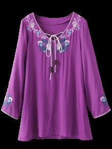 Long Sleeve Embroidered Mini Dress