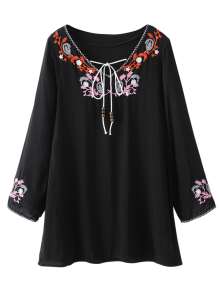 Long Sleeve Embroidered Mini Dress - Black Xl