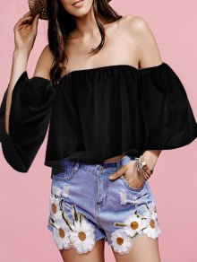 White Flounce Off The Shoulder Blouse - Black S